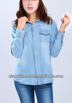 Slim fit Trendy design High quality light blue washed casual Retro/denim long sleeve shirt for women/ladies