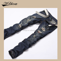 New model custom jeans trousers slim ripped fashion denim jeans pants for men