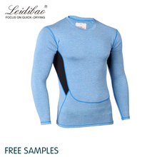 New blank mens tracksuit private logo gym compression long sleeve quick dry t-shirt wholesale athletic wear