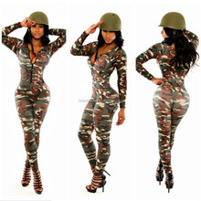 long sleeve army green women camouflage clothing jumpsuit PW-LC6918