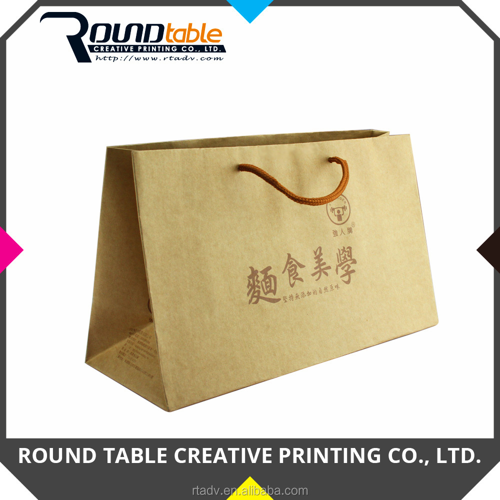 Eco Friendly Custom Brown Kraft Paper Bag with Handle for Noodles