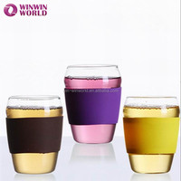 Promotional Gift Silicone Grip Drinking Cup Pyrex Glass