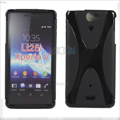 Soft Gel S Line Style Design Tpu Silicone Skin Case Cover for Sony Xperia V LT25i P-SONYLT25ITPU001