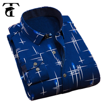 Latest Shirt Designs Long Sleeve Printed Thick Men Shirt Turndown Collar Slim Fit Shirt For Men