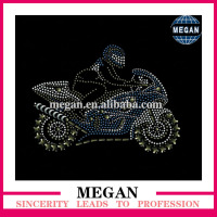 Personalised motif motorcycle rhinestone transfer iron on fashion tshirt