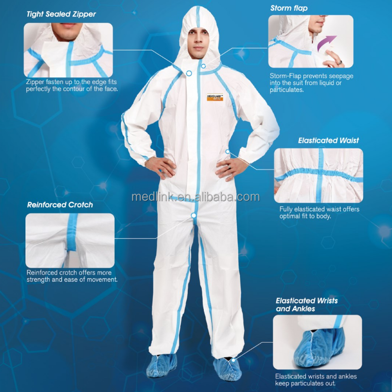 low lint type 5/6 coverall for clean room in microporous material