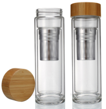 15 OZ borosilicate glass tea infuser water bottle tumbler with bamboo lid