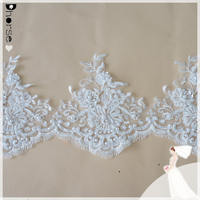 Wholesale decorative fancy embroidery french beaded bridal lace trimming DHBL1668