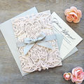 Silver Ribbon Gatefold Laser Cut Wedding Invitation Made In China
