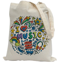 Bags For Kids To Colour In. Printed Outline - Kids Craft I love Music Design Canvas Tote Bag