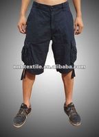 Mens 100% cotton canvas gartment washed cargo shorts