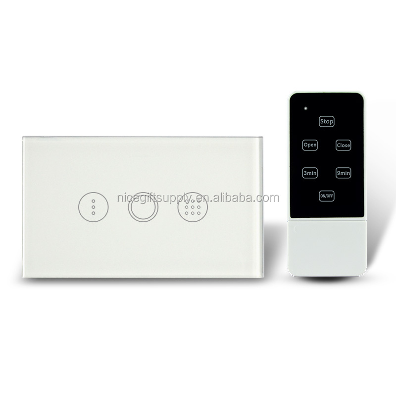 Wireless Remote Control Timer Switch US Standard Glass Panel Light Switch with Blue LED Backlight AC110-240V