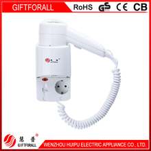 1200W Professional Wall Mounted hotel Hair Dryer with Eu adaptor socket