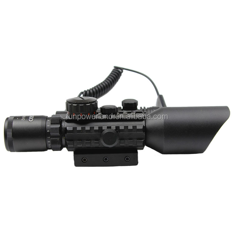 Funpowerland 3-10X42+red laser M9B Tactical rifle scope red green Mil-Dot Reticle with side mounted Red laser/Guaranteed 100%
