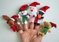 2017 wholesale plush Christmas doll puppet toy hand knitted animals finger puppets