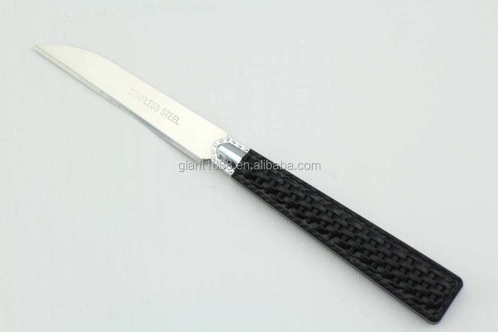 Knit design black PP handle 12pcs cutlery fruit knives sets with a colorful paper box packing