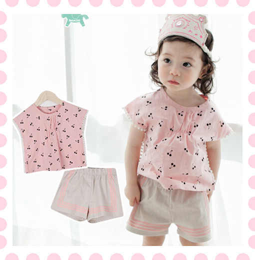 2PCS/2-5Years/2015 kids clothes brands 100%cotton baby tracksuit girls summer sets T-shirts Shorts children's wear china BC1125