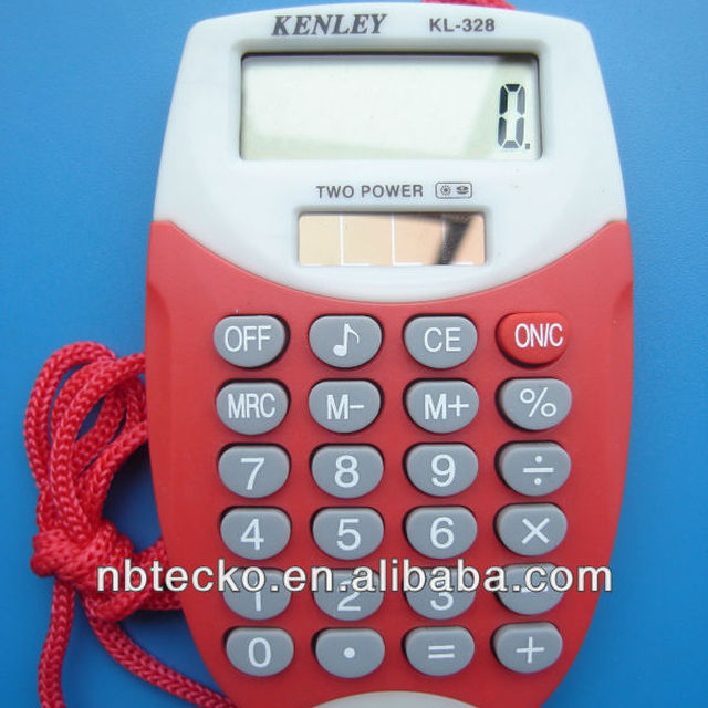 mini plastic pocket calculator with lanyard