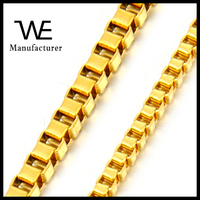24K Solid Gold Plated Stainless Steel Man Box Necklace Chain Jewelry