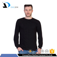 Daijun OEM high quality cotton men black full long sleeves fitted blank cheap plain t-shirt
