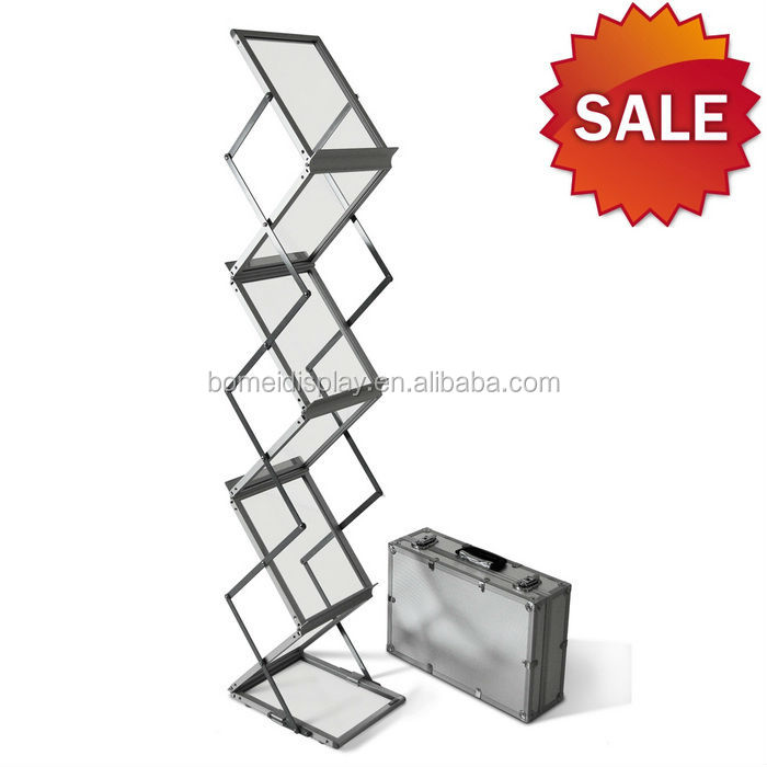 Metal folding adjustable A4 PS/wood book shelf