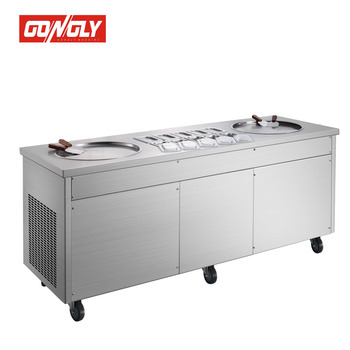 Double pans thailand style roll fry ice cream machine with flat table