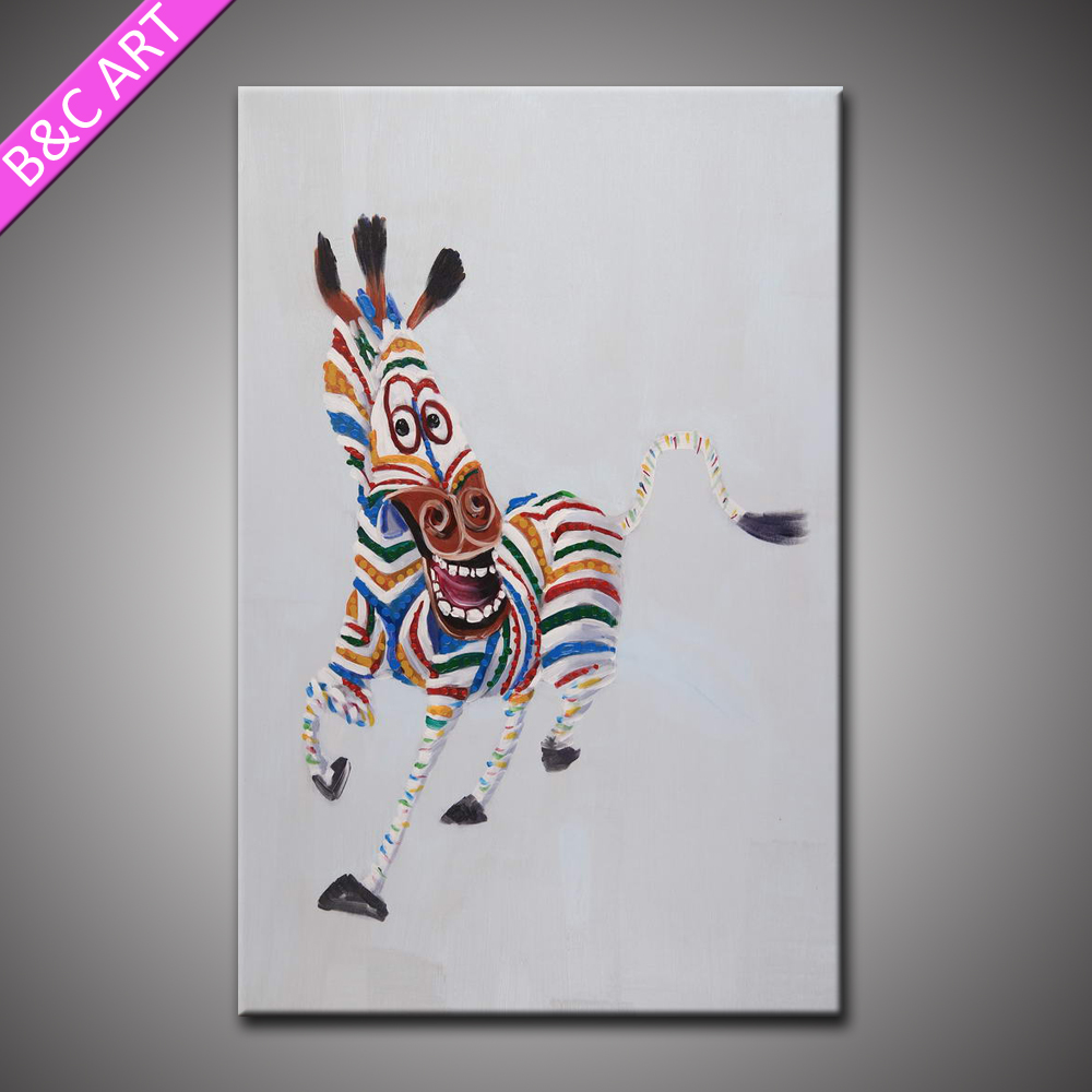 Hand Painted Animal Wall Pictures Running Zebra Funny Art Oil Painting For Sale