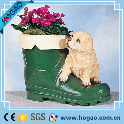 Resin green boot flowerpot polyresin dog figurine home decor for sale