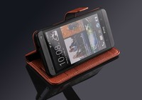 Fashionable Phone Accessory of High Quality PU Leather Stand Card Holders Inside Hand Made Cell Phone Case Bag for HTC One M7