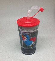 600ML plasttic 3D cup 3d model with straw for children