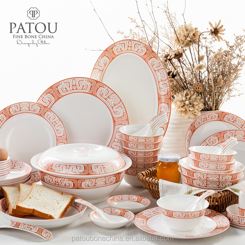 Promotion Orange Color turkish porcelain dinner set fine bone china