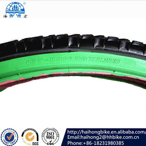 high quality bike tyre 26X2.125(57-559)bicycle tire ,two color bike tire,road bike tyre with green wall