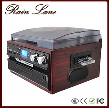 Rain Lane European Style Radio CD Cassette Wooden Turntable LP Record Player