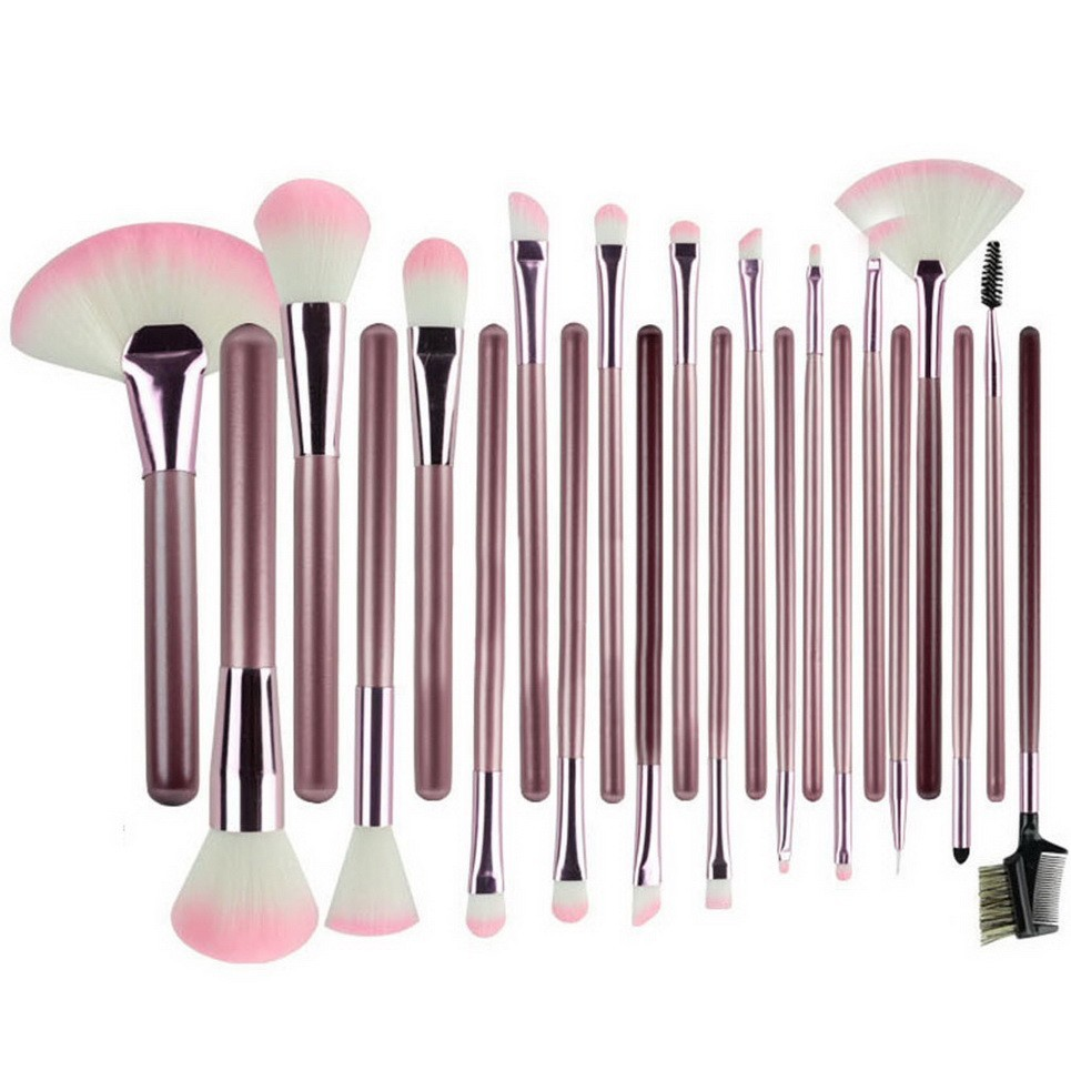 22pcs Professional Soft Cosmetic make up brush Set Pink+Pouch Bag