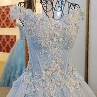 RP66259 off shoulder ball gown light blue luxurious beaded evening dresses lace tulle evening dress sexy elegant party dresses