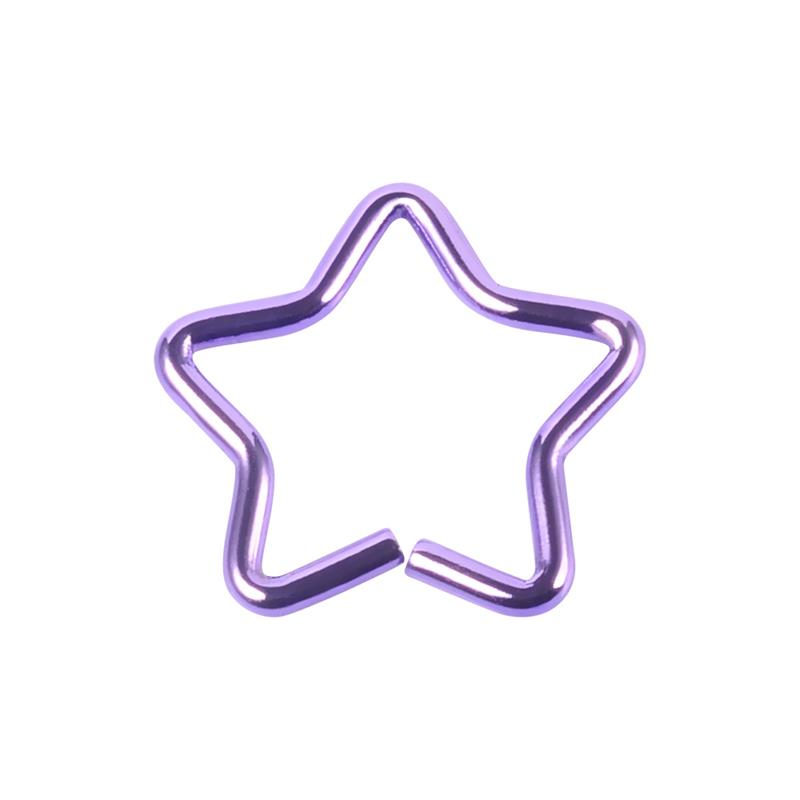 Hot selling 18g free sample different colors star shaped ear tragus cartilage plugs wholesale