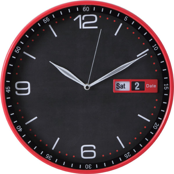 Red plastic wall clock/ high quality date & day wall clock/ day date time clock