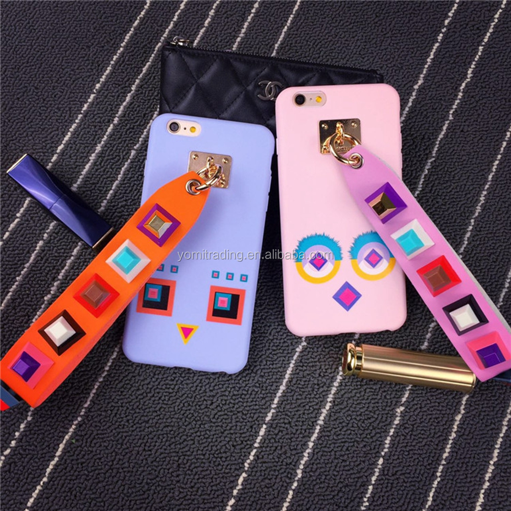Hot Leather Strap Band Rivet Studded silicone Cases For iPhone 6 6s Rivet studded Metal Rope fundas