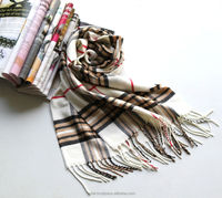 white fashion winter plaid scarf with classic lattice design ESA-004
