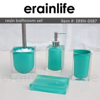 Transparent polyresin bathroom accessories set