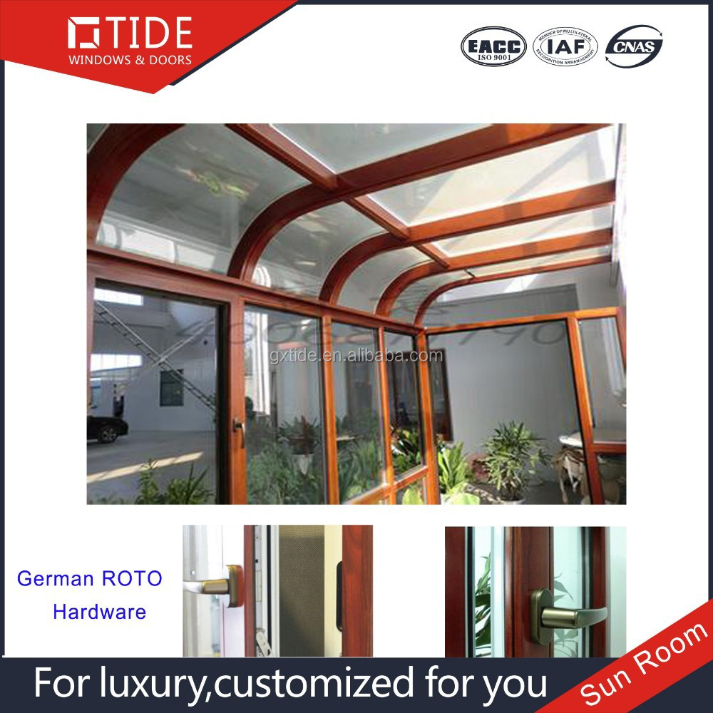 Sunroom, glass room, aluminum wooden sun room with hollow tempered glass