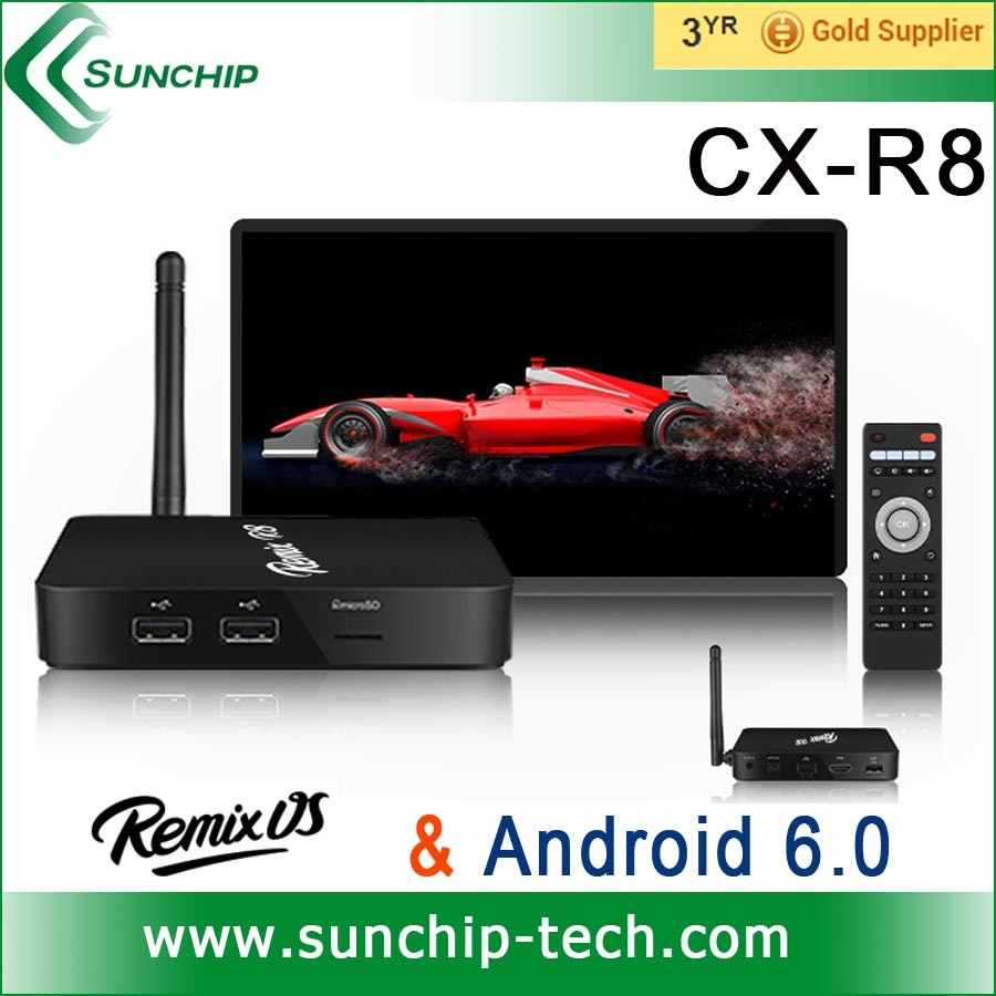 android 6.0 marshmallow tv box Rockchip RK3368 Octa-core 64bit 4gb ram 16gb rom android tv box with remix OS together