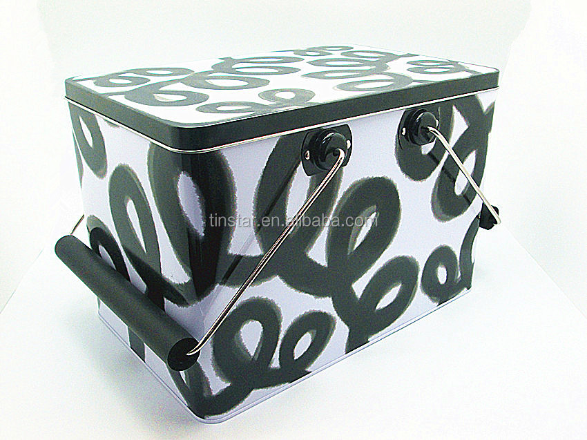 large metal tin case with handle toy packaging