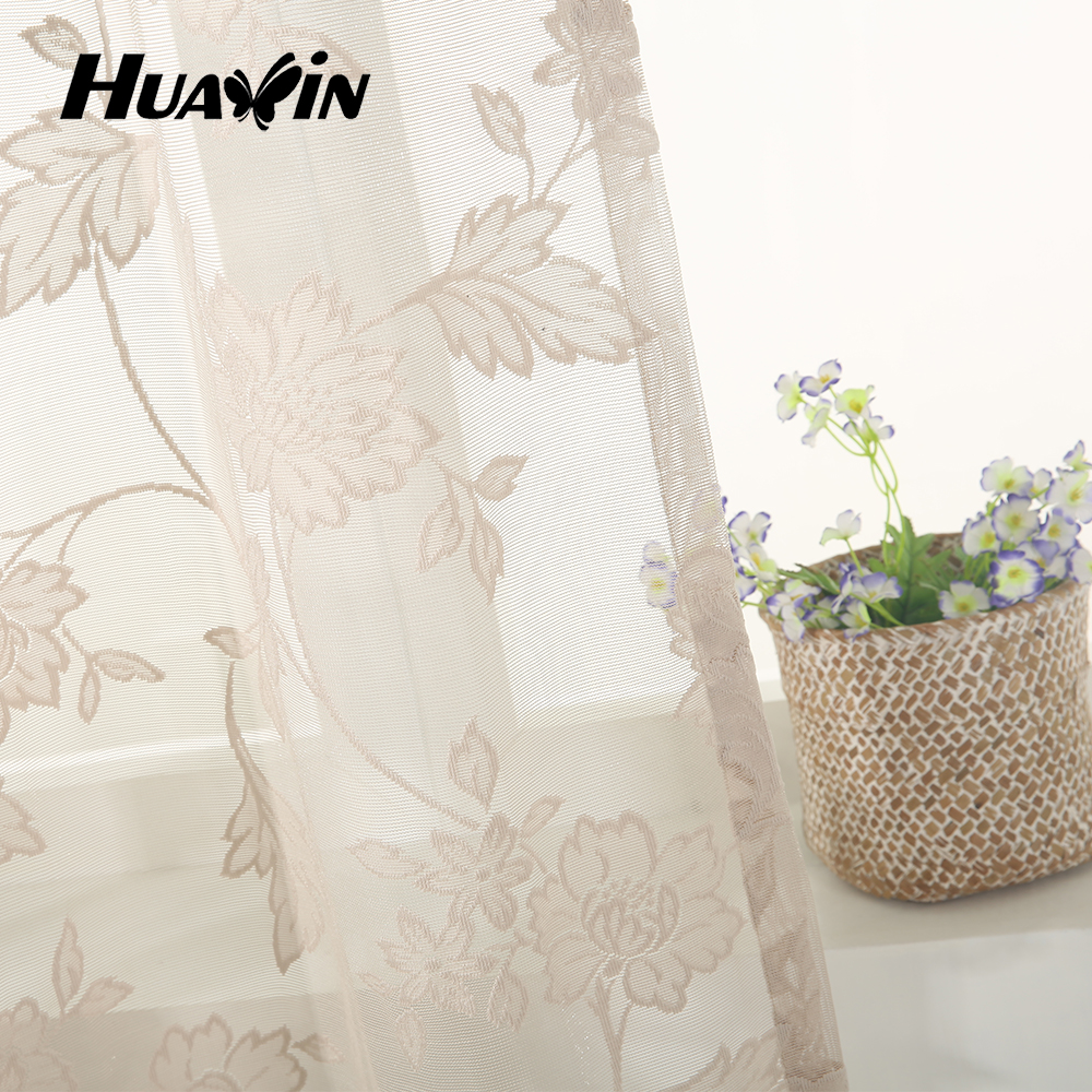 100% polyester warp knitting sheer curtain beautiful lace curtains