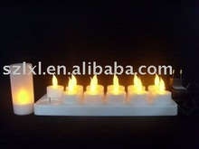 Rechargeable LED Tea Light/12pcs/set yellow flickering candle light