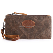 Wholesale Quality Travel Clutch Wallet Waterproof Waxed Canvas Men Clutch Bags