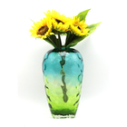 Wholesale cheap colored home decoration glass vases restaurant table used glass flower vase for meet a variety processes