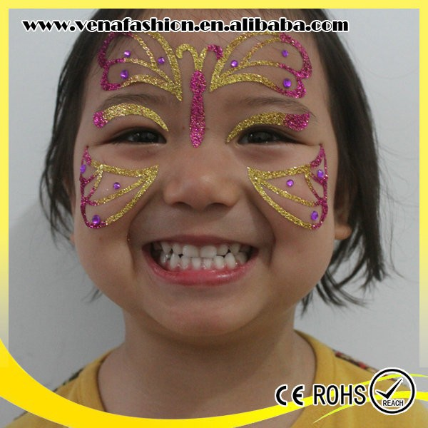 rhinestone kids eco friendly glitter face stickers, face art stickers