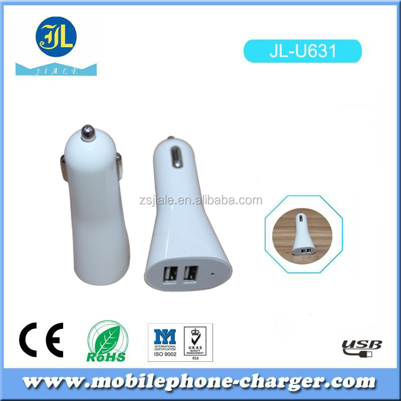 Bullet rocket shape dual USB car charger OEM customized product promotional electronics