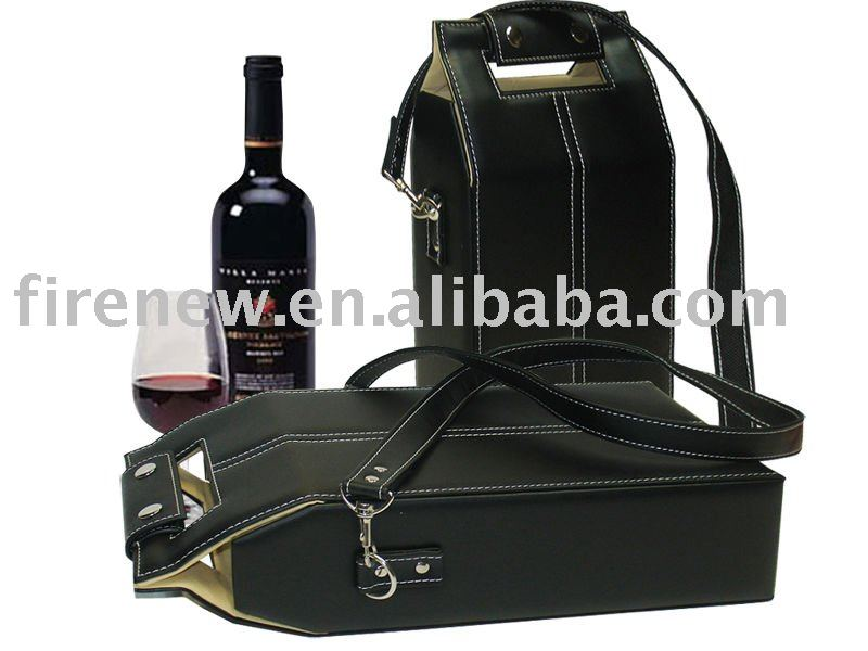 Leather wine bottle holder with shoulder strap